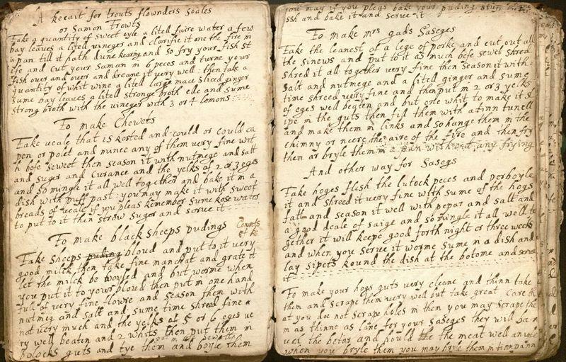 """""""Booke of Recaits"""" [manuscript book of culinary recipes and medicinal remedies]"""