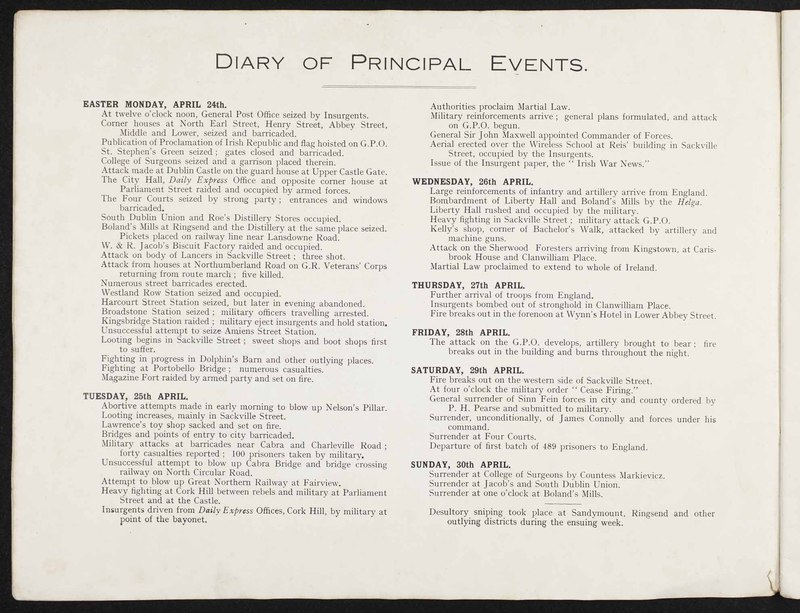 """Diary of Principal Events,"" in <em>The ""Sinn Fein"" Revolt Illustrated</em>"