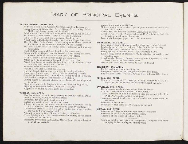 """Diary of Principal Events,"" in <em>The ""Sinn Fein"" Revolt Illustrated</em>"