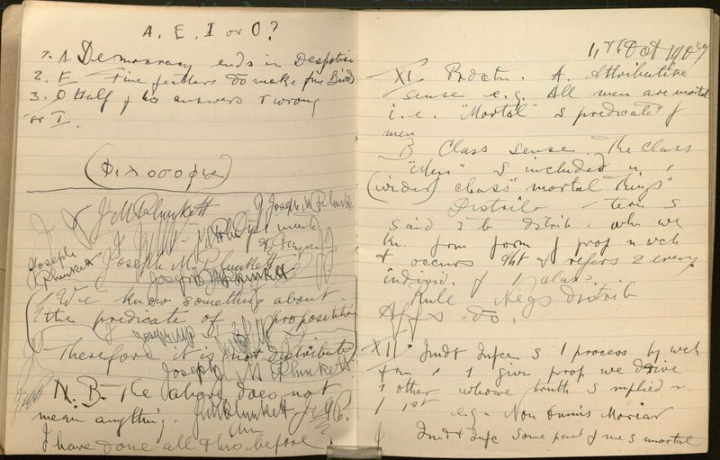 Philosophy Notebook from Stonyhurst College, Clitheroe, Lancashire, England