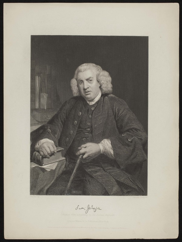 """Portrait of Samuel Johnson, """"likeness from a painting by Sir Joshua Reynolds"""""""