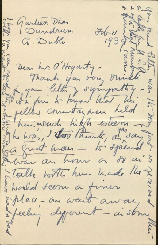 Letter from Elizabeth Corbet Yeats to P. S. O'Hegarty, Dundrum, County Dublin