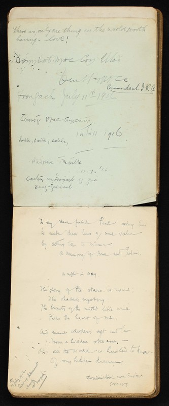 Internment camp autograph book belonging to Paul Cusack. Frongoch Camp, Wales, 1916; Mountjoy Prison, Dublin, 1921