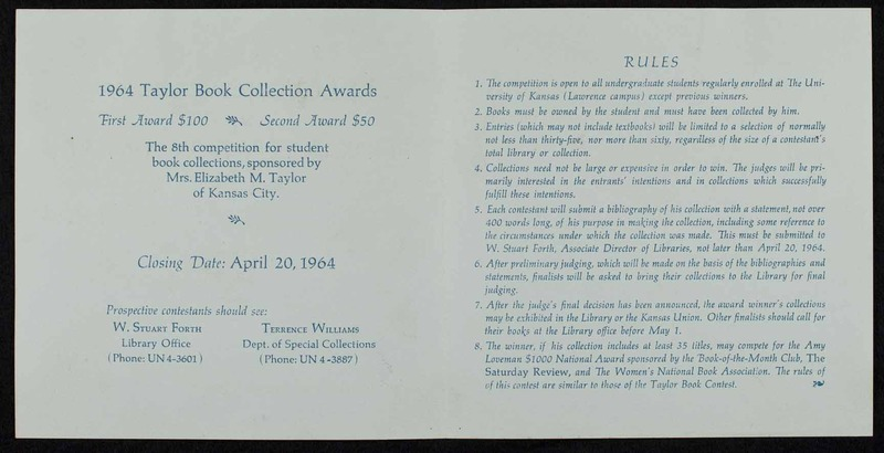 1964 Taylor Book Collection Awards, from the Laird M. Wilcox papers