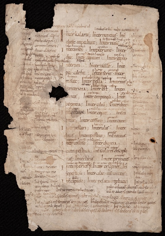 Leaf from a Latin glossary with Old English glosses, covering the words interkalares to istingum.