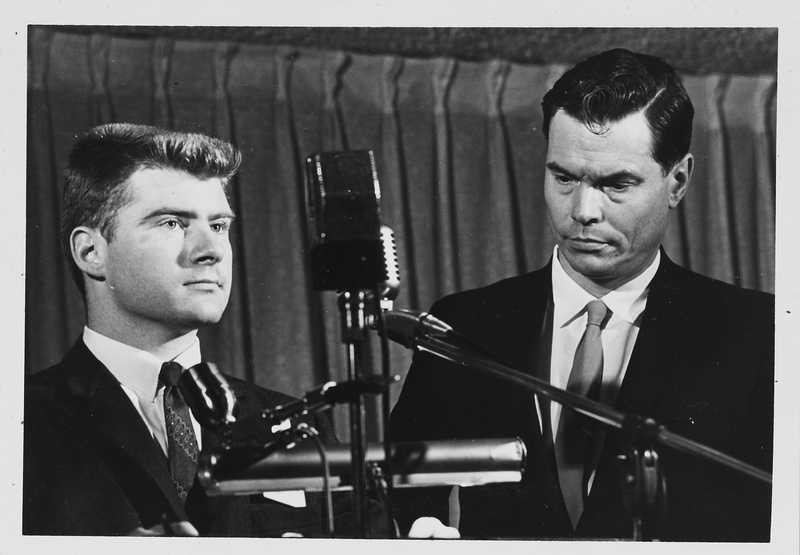 Laird Wilcox and George Lincoln Rockwell, KU, 1964 From the Laird Wilcox scrapbook RH WL MS Q5