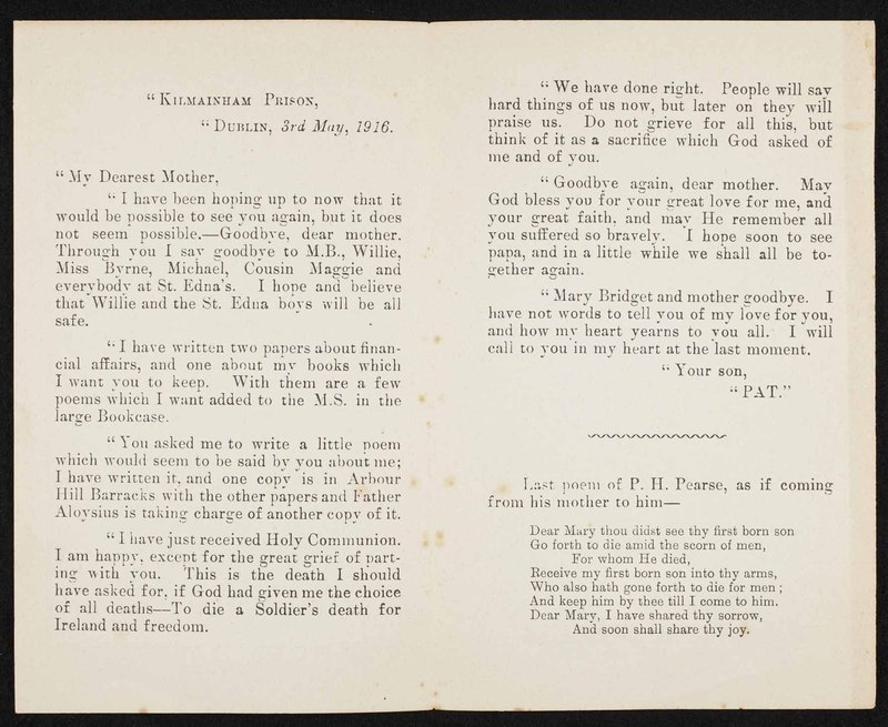 """""""Last Letter & Poem of Padraic Pearse, First President of the Irish Republic, Written to his Mother in Kilmainham Prison, Dublin, on May 3rd, 1916, Shortly Before his Execution"""""""