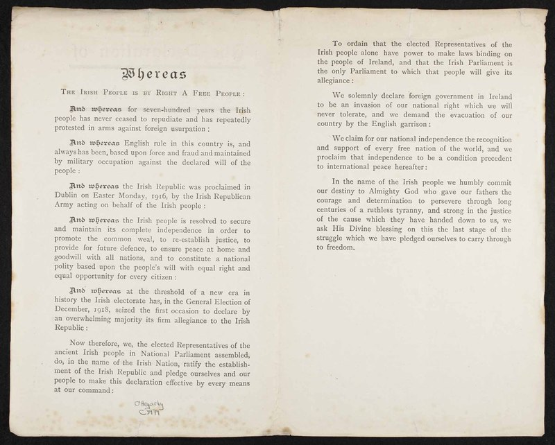 The Declaration of Irish Independence: Official English Translation: Historic Pronouncement of Ireland's Freedom from English Rule, Made at the First Meeting of Dáil Eireann (Ireland's Republican Parliament) in the Mansion House Dublin on Tuesday January 21st 1919.