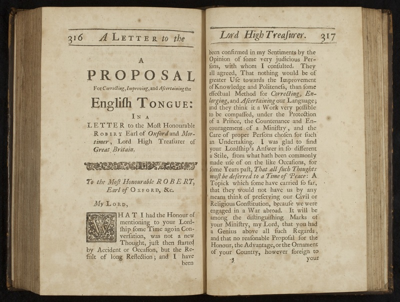 """""""A Proposal for Correcting, Improving, and Ascertaining the English Tongue"""" in <em>Miscellanies in Prose and Verse</em>… Vol. 1."""