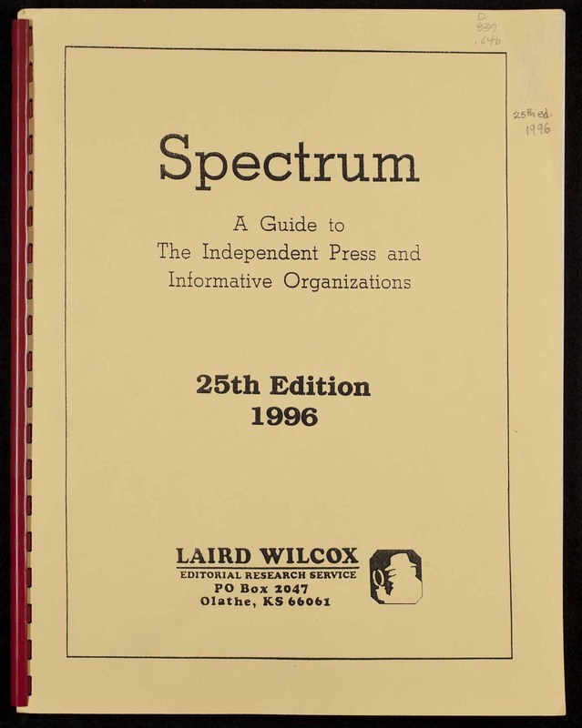 Spectrum : a guide to the independent press and informative organizations; 25th Edition 1996
