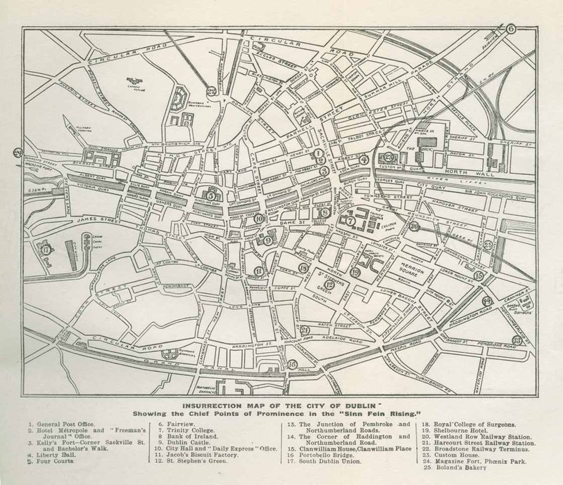 """<em>""""Insurrection Map of the City of Dublin; Showing the Chief Points of Prominence in the 'Sinn Fein Rising'""""</em> in<em> The Irish Rebellion of 1916 and Its Martyrs: Erin's Tragic Easter / by Padraic Colum, Maurice Joy, James Reidy, Sidney Gifford, Rev. T. Gavan Duffy, Mary M. Colum, Mary J. Ryan, and Seumas O'Brien ; edited by Maurice Joy</em>"""