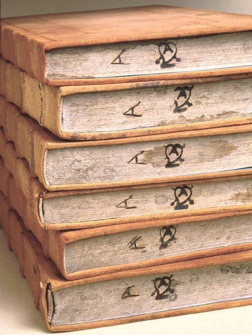 Marcas de fuego from the Convento de san Agustín (Puebla, Puebla) on Spencer Research Library's copy of Biblia polyglotta.  Alcala de Henares: in Complutensi universitate, industria Arnaldi Gulielmi de Brocario, 1514-1517 [i.e. 1520 or 1521]. Call # Summerfield G41.