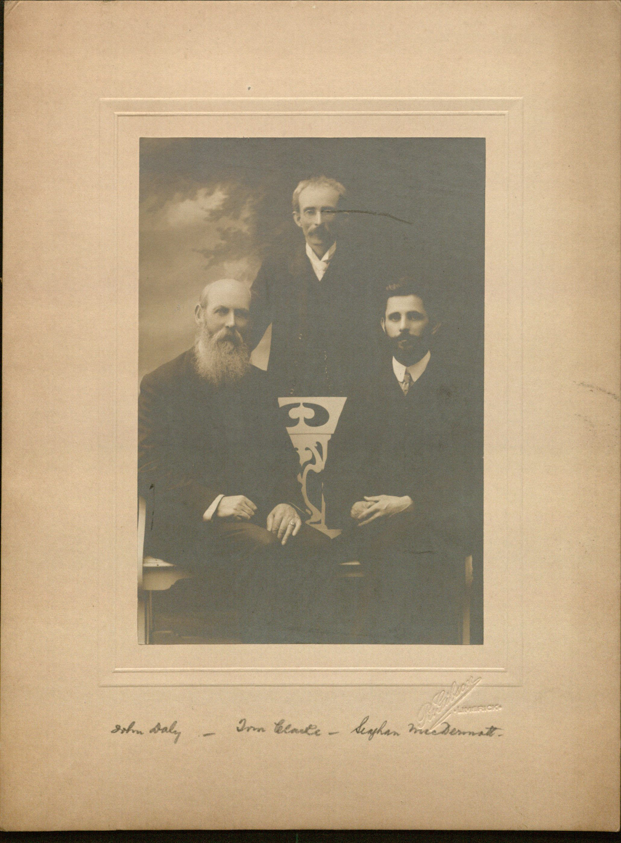 Photograph of John Daly, Tom Clarke, and Seaghan MacDermott [Seán MacDiarmada]