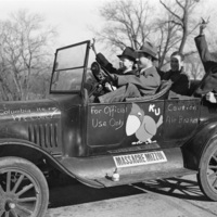 KU Fans Heading to the Missouri Football Game with Jayhawk on Car, 1940s