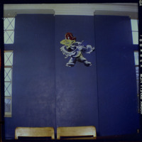 Patrick Bower's, mural of a Jayhawk portraying the School of Fine Arts (Music), formerly located in the Jayhawk Reading Room of Watson Library, circa 1954