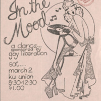 Poster advertising a dance sponsored by Gay Liberation, March 2, 1974