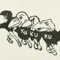 """<p>""""Dancing"""" Jayhawks drawing that appeared in the&nbsp;1980/1981 <em>Jayhawker Yearbook</em></p>"""