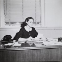 Dean of Women, Emily Taylor, in her office, Dec. 1, 1956