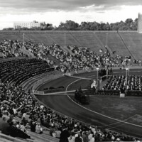 Students, friends, and family gathered at Memorial Stadium for 1971 commencement