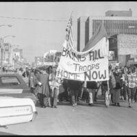 An anti-Vietnam War march down Massachusetts street, Oct. 25