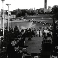 Students walk down the hill at 1971 commencement
