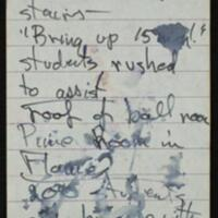 Pages from the Tom Johnson notebook documenting the Memorial Union fire