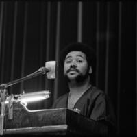 Day of Alternatives Photo of Student Speaker in Hoch Auditorium