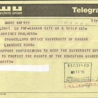 Supportive telegram sent to the Chancellor, May 8 1970