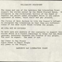 Solidarity Statement written by the LGL in support of the Black Student Union, fall 1970