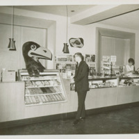 Jayhawk mascot hanging out in the Kansas Union Store, 1963/1964
