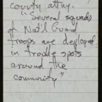 Pages from reporter's Tom Johnson notebook documenting the 1970 April curfew