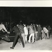 Protesters and police, April 1970