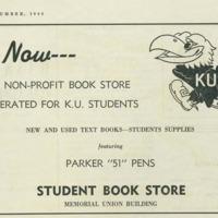 KU Student Book Store advertisement featuring the Sandy Jayhawk, 1946