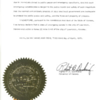 Proclamation of Emergency ordered by Governor Docking on April 23, 1970