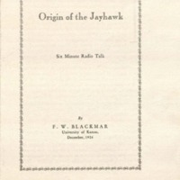 <em>Origin of the Jayhawk: Six Minute Radio Talk</em>, December 1926