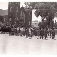 Mourners Standing Outside the Church During the Dowdell Funeral