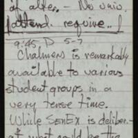 Pages from reporter's Tom Johnson notebook documenting the Day of Alternatives