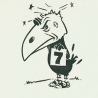 Jayhawk with a battered head holding a number 7 sign, 1951 <em>Jayhawker Yearbook</em>
