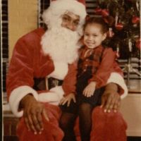 Colynn Shinn with Santa Claus, 1980s.