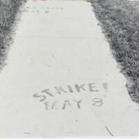 Day of Alternatives - Strike May 8, spray painted on sidewalk