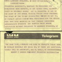 Telegram from Robert F. Goheen President of Princeton University, May 8 1970