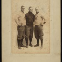 1908 KU Football Players George Cromwell, William Rice, and Harley Wood.