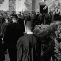 Students walk through the Campanile at 1971 commencement