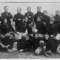 Team photo on hill, 1896.