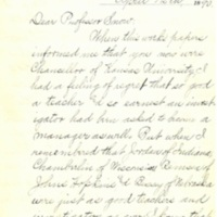 Congratulatory letter from Dice McLaren to Chancellor Snow.