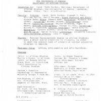 Department of African Studies Information