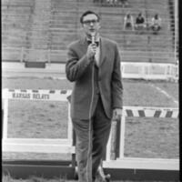 Day of Alternatives Photo of Chancellor Chalmers addressing the crowd of protesters in Memorial Stadium