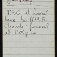 """Thomas Johnson's notes on Rick """"Tiger"""" Dowdell's funeral."""