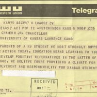 Supportive telegram sent to the Chancellor, received May 11 1970