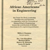 KU's Center of Black Leadership Award Program, 1991, honoring Michael G. Shinn and three other African American engineers for their contributions.
